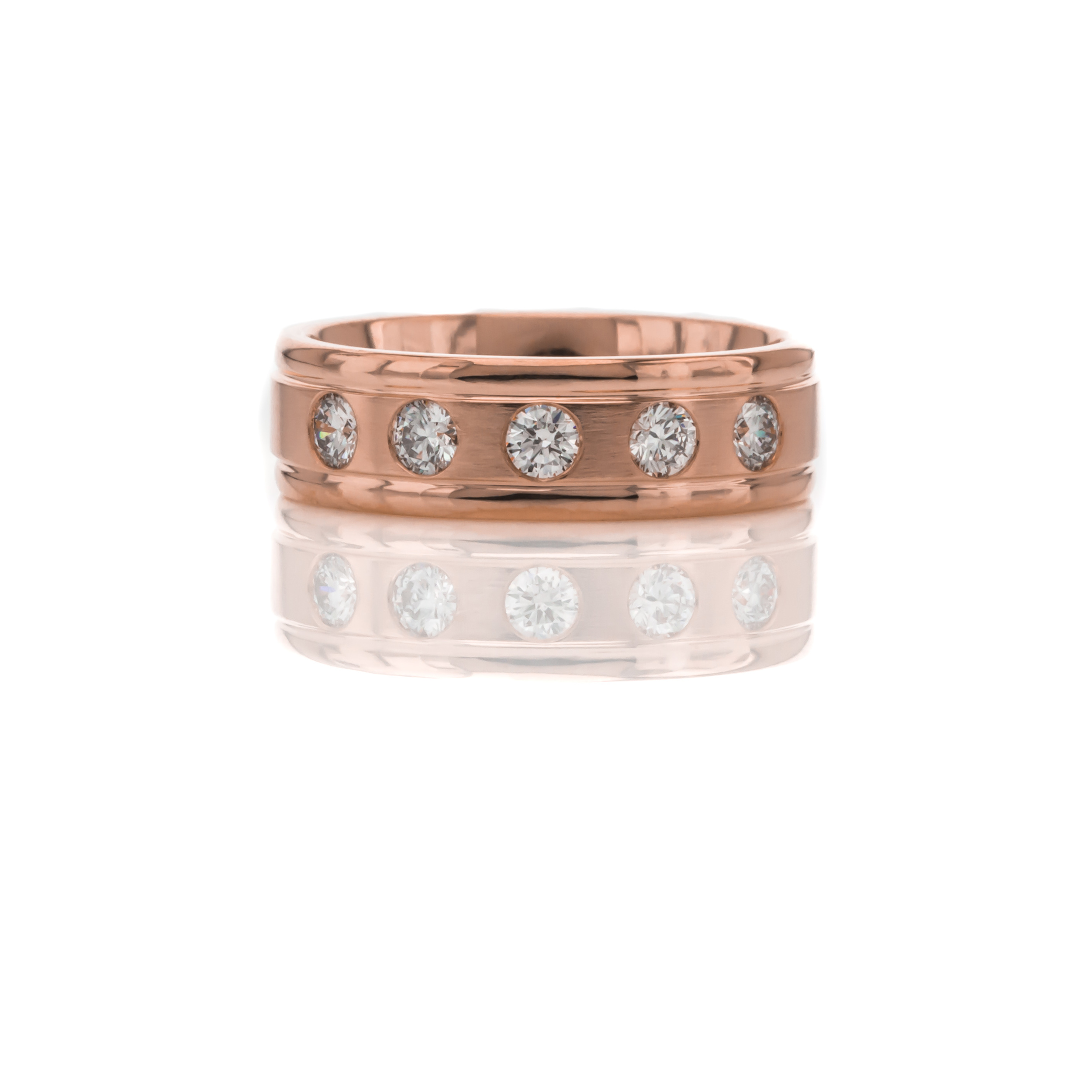 CUSTOM DIAMOND AND ROSE GOLD WEDDING BAND