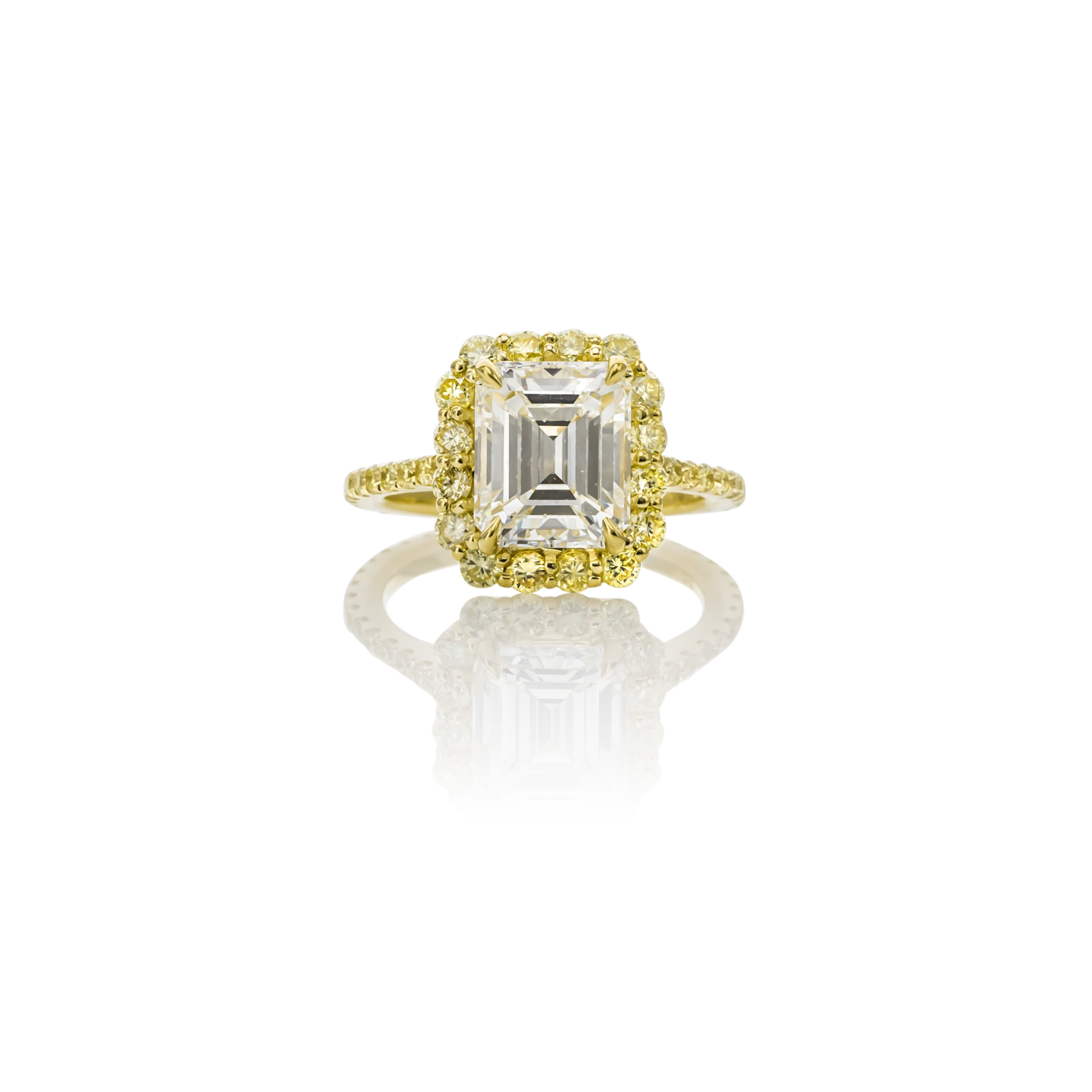 CUSTOM 18K YELLOW GOLD EMERALD CUT DIAMOND ENGAGEMENT RING WITH FANCY YELLOW DIAMOND HALO