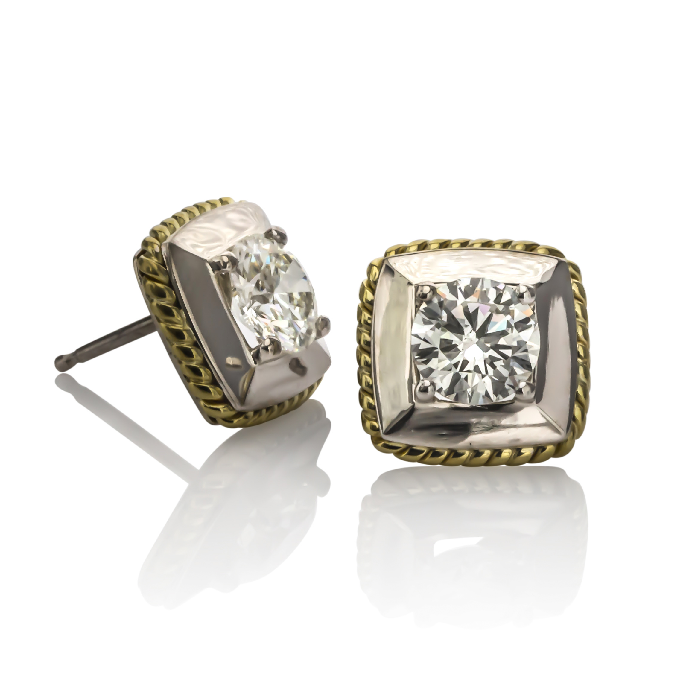 CUSTOM 18K TWO-TONE DIAMOND EARRINGS