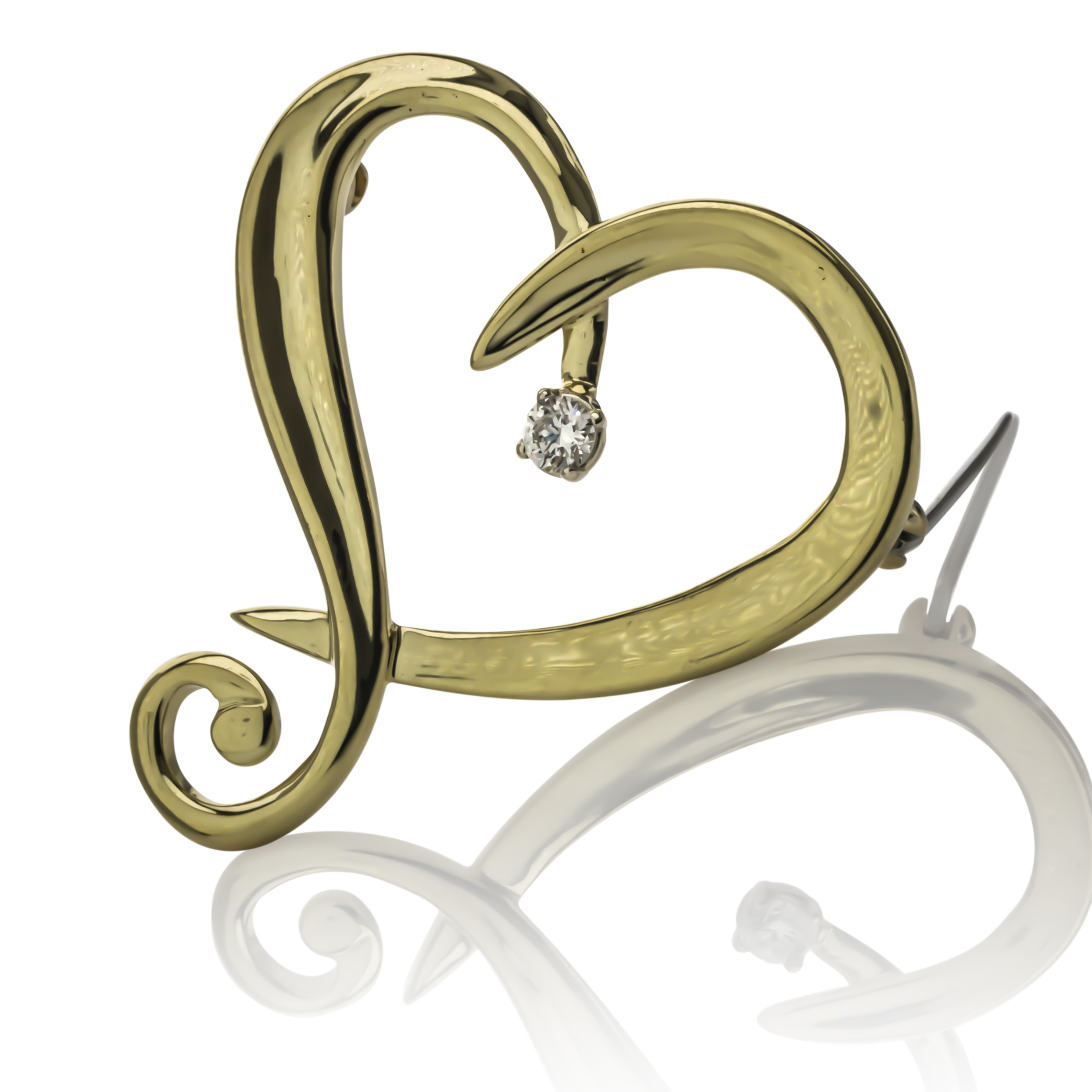 CUSTOM 18K HEART BROOCH WITH DIAMOND ACCENT