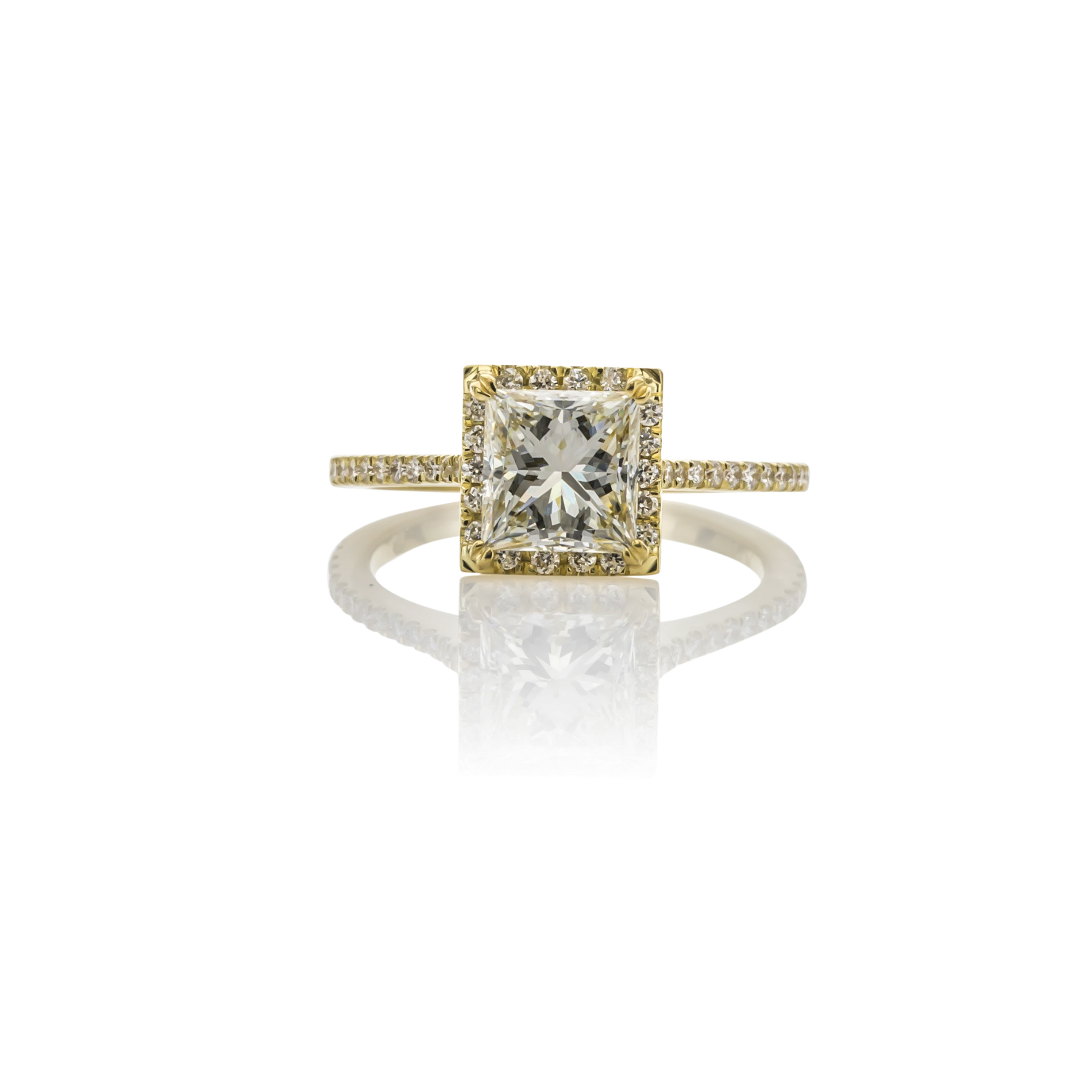 CUSTOM 18K YELLOW GOLD PRINCESS CUT DIAMOND ENGAGEMENT RING