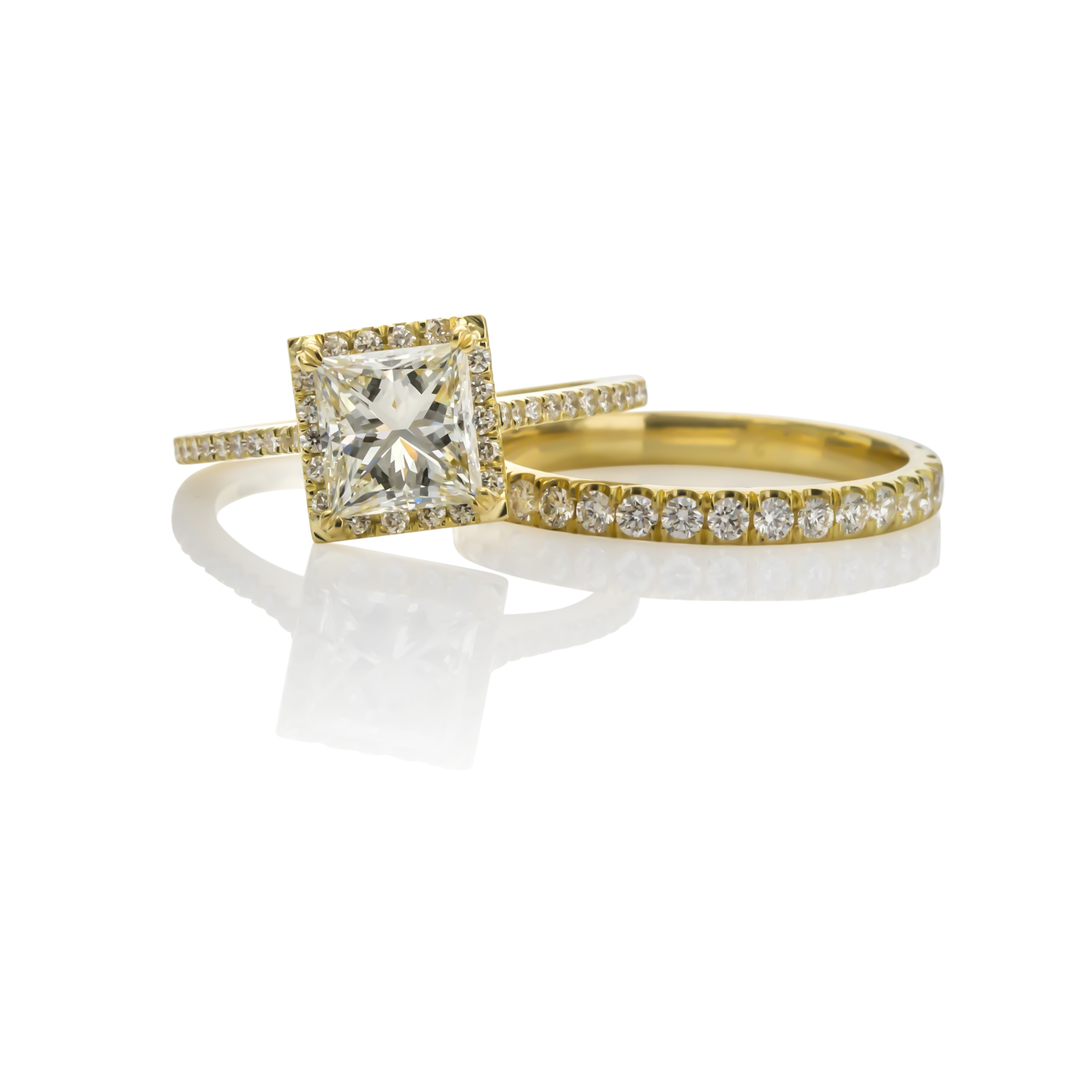 CUSTOM 18K YELLOW GOLD PRINCESS CUT DIAMOND ENGAGEMENT RING AND MATCHING WEDDING BAND