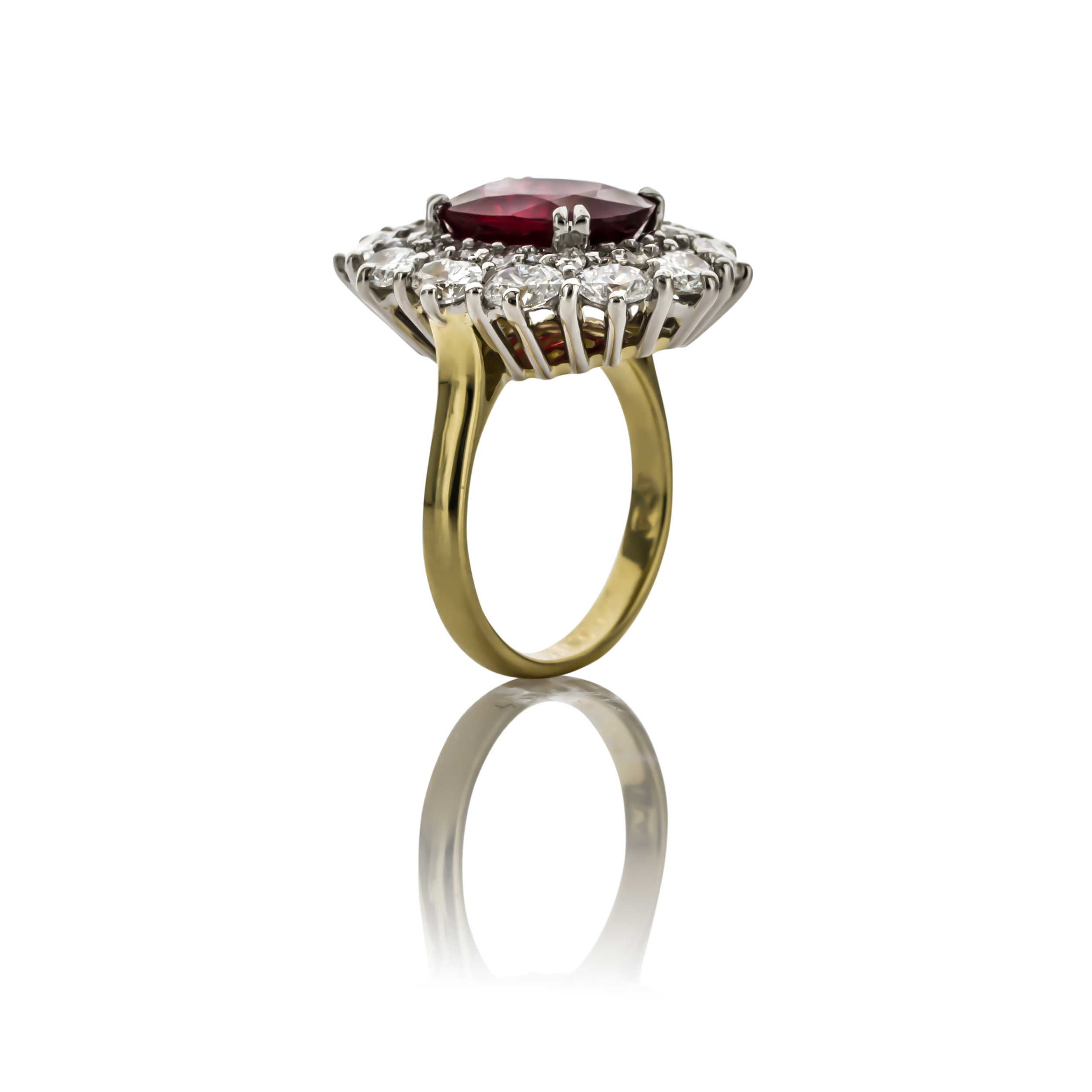 CUSTOM RUBY AND DIAMOND RING