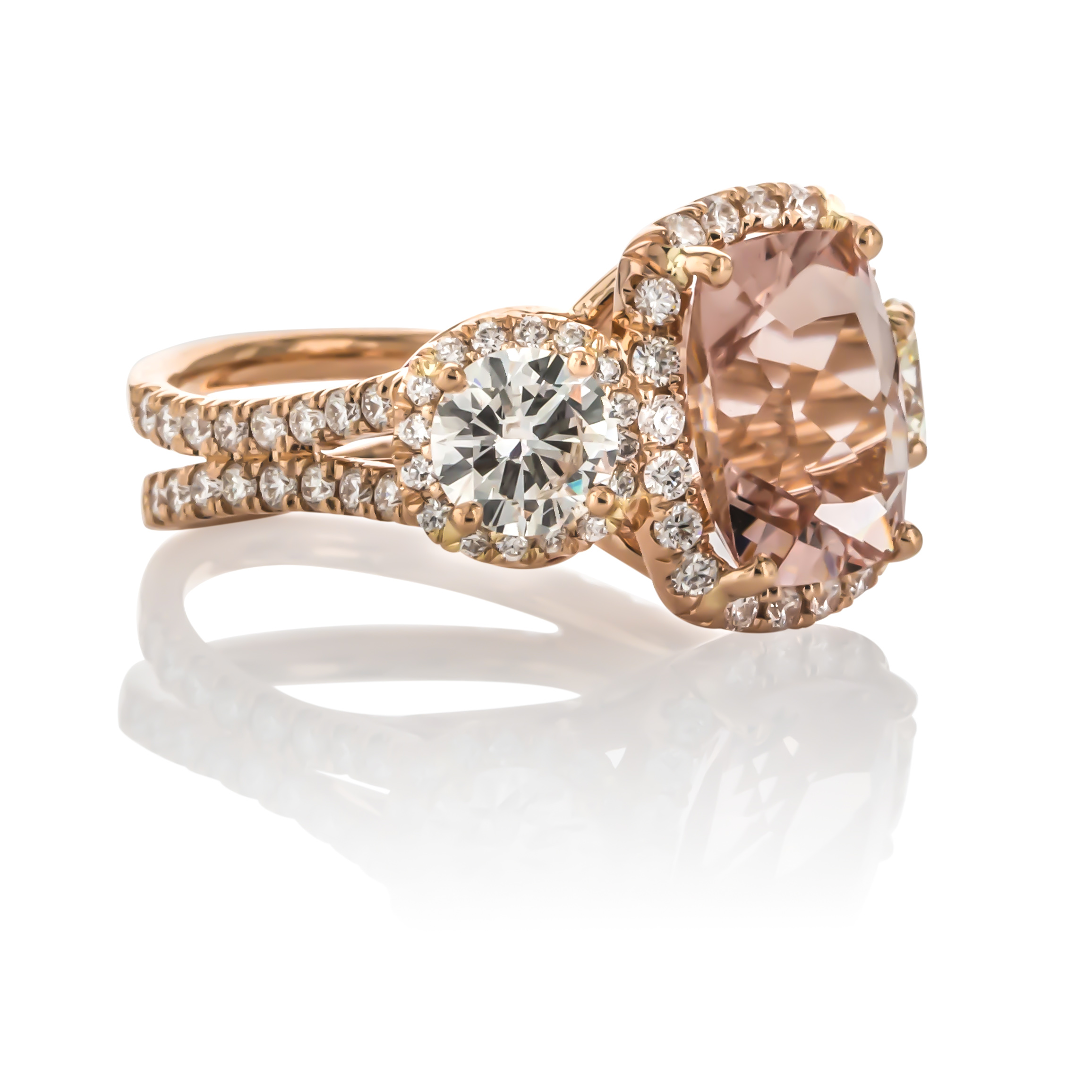 CUSTOM MORGANITE AND DIAMOND RING