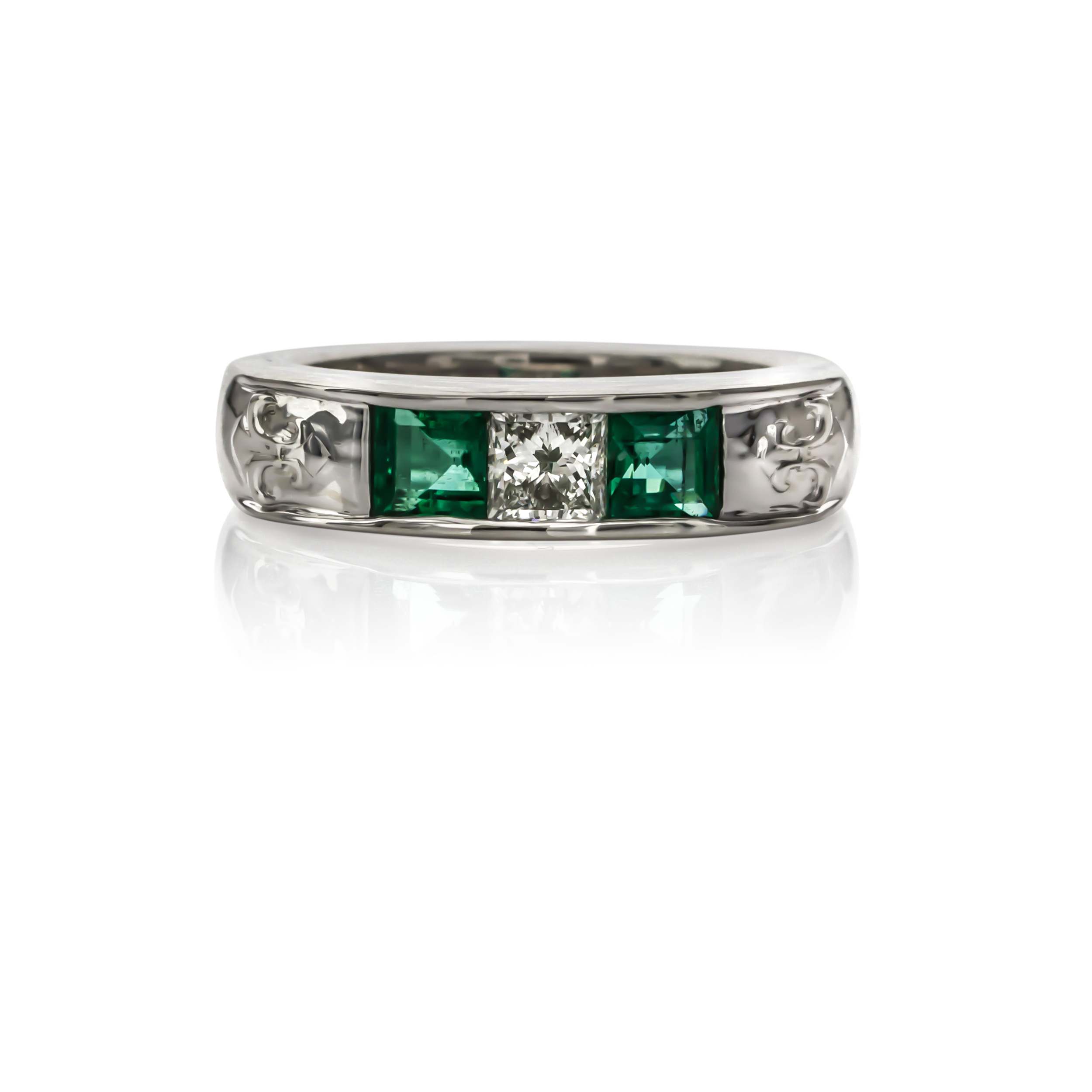 CUSTOM EMERALD AND DIAMOND GENTS BAND