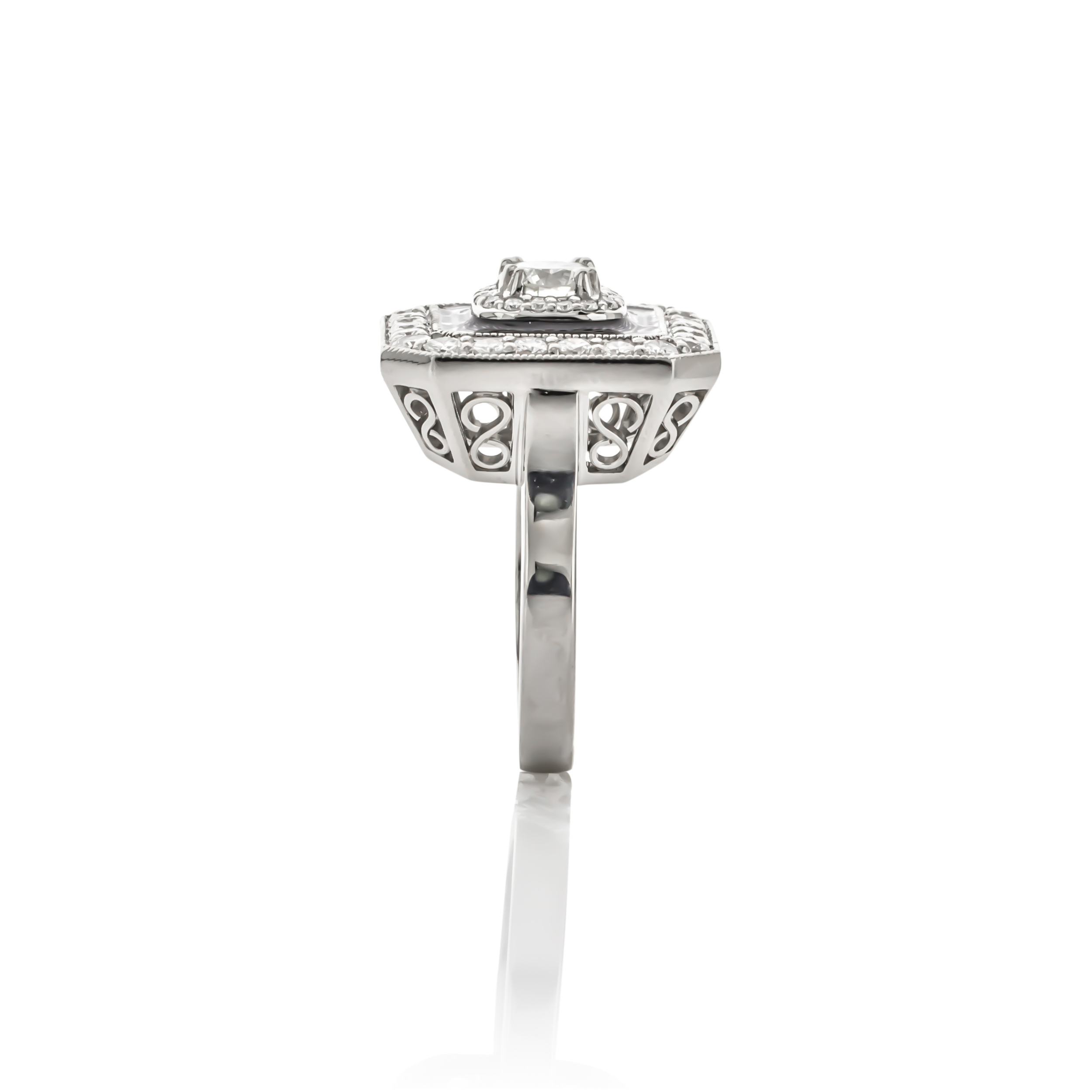 CUSTOM DIAMOND ART DECO RING WITH ENAMELED ACCENT HALO