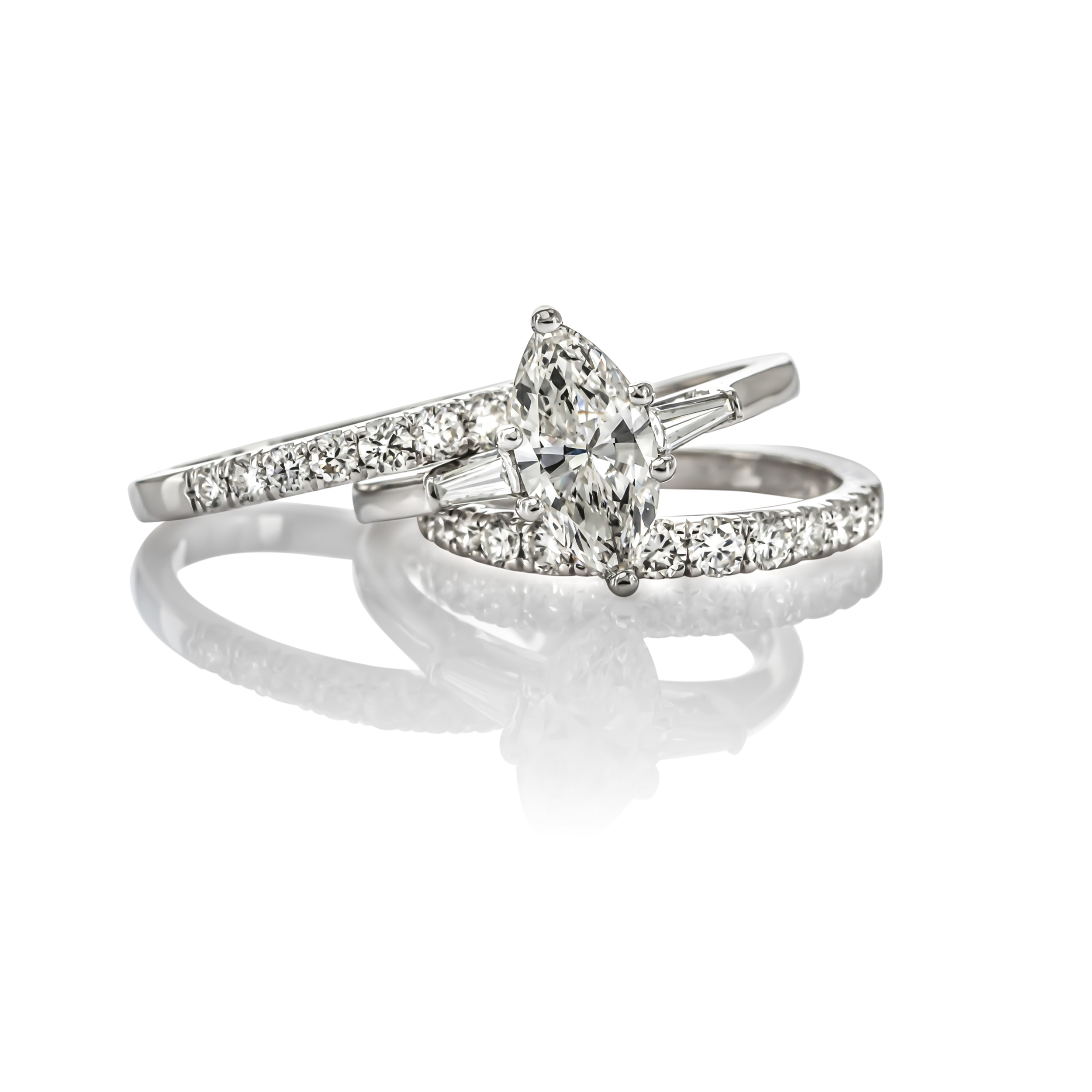 CUSTOM MARQUISE DIAMOND ENGAGMENT RING AND MATCHING DIAMOND WEDDING BAND