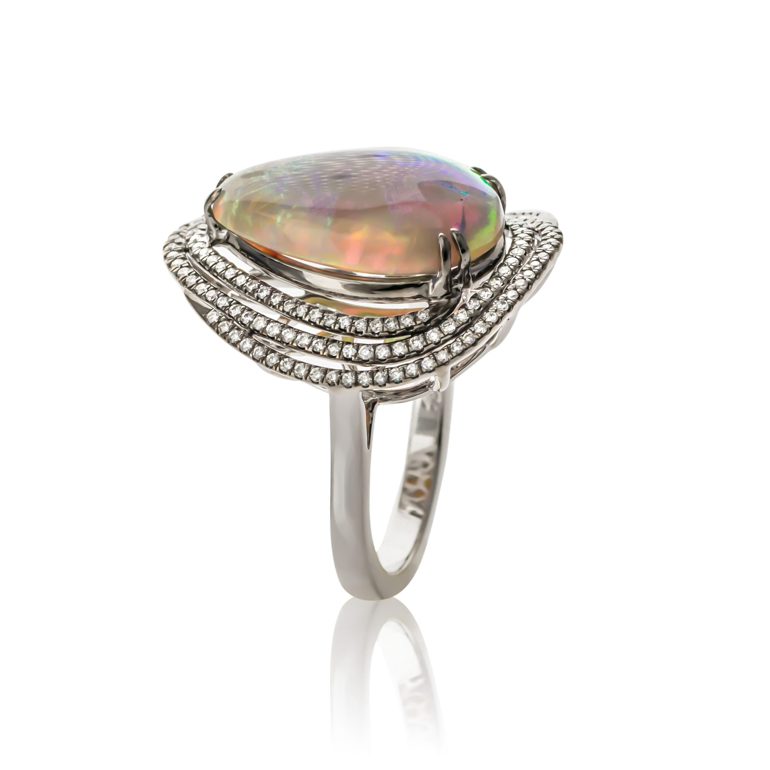 CUSTOM LIGHTNING RIDGE OPAL AND DIAMOND RING