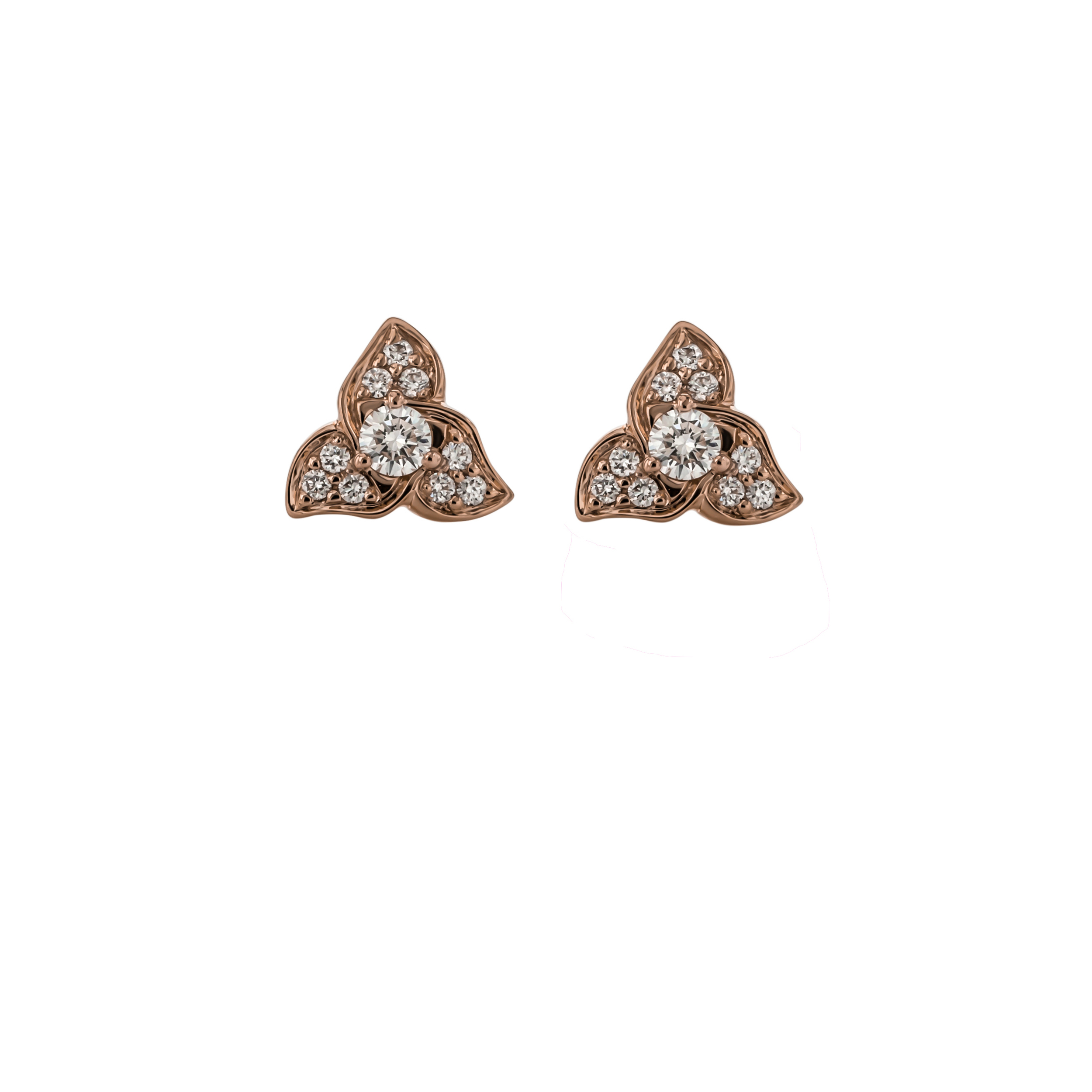 CUSTOM DIAMOND EARRINGS SET IN 18K ROSE GOLD