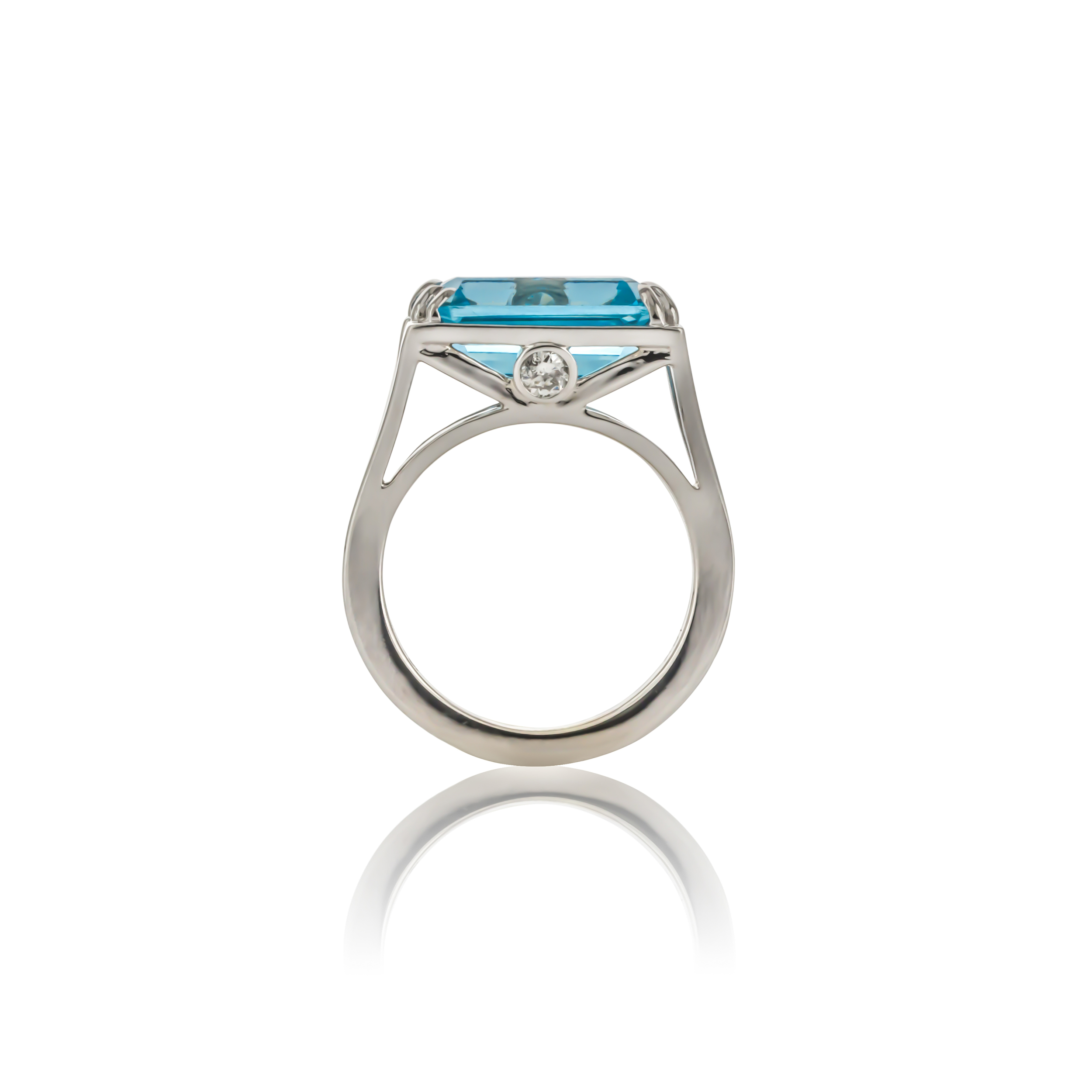 CUSTOM BLUE TOPAZ AND DIAMOND RING SET IN 18K WHITE GOLD
