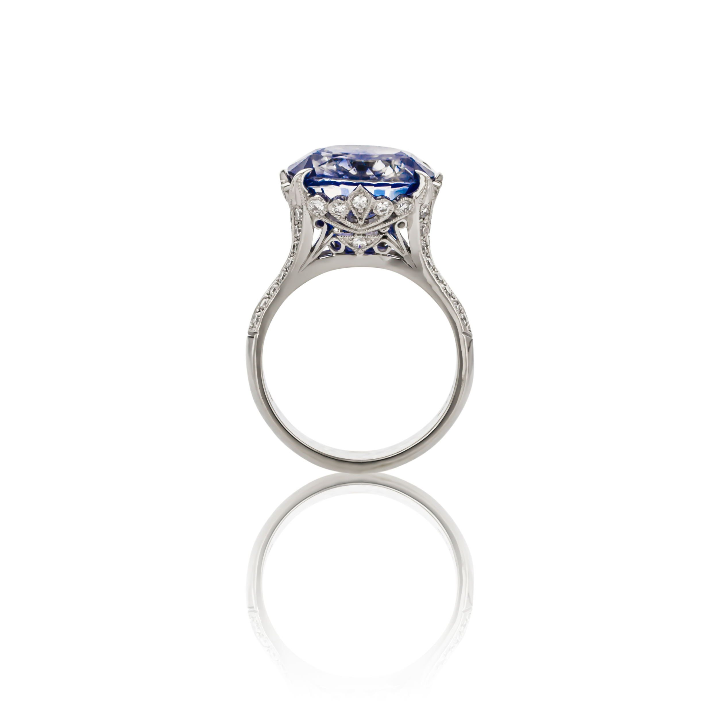 CUSTOM SAPPHIRE AND DIAMOND RING