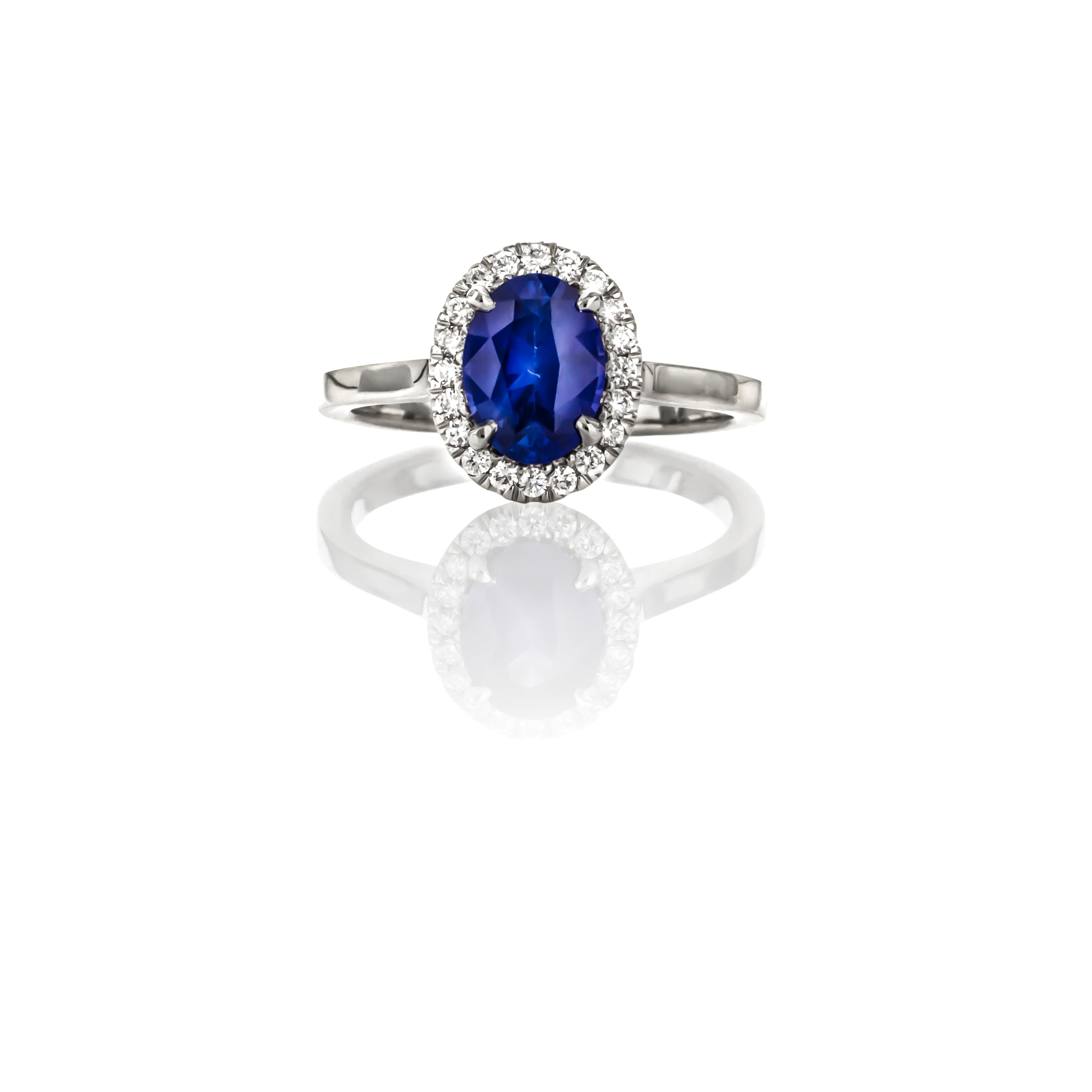 CUSTOM SAPPHIRE RING WITH DIAMOND HALO