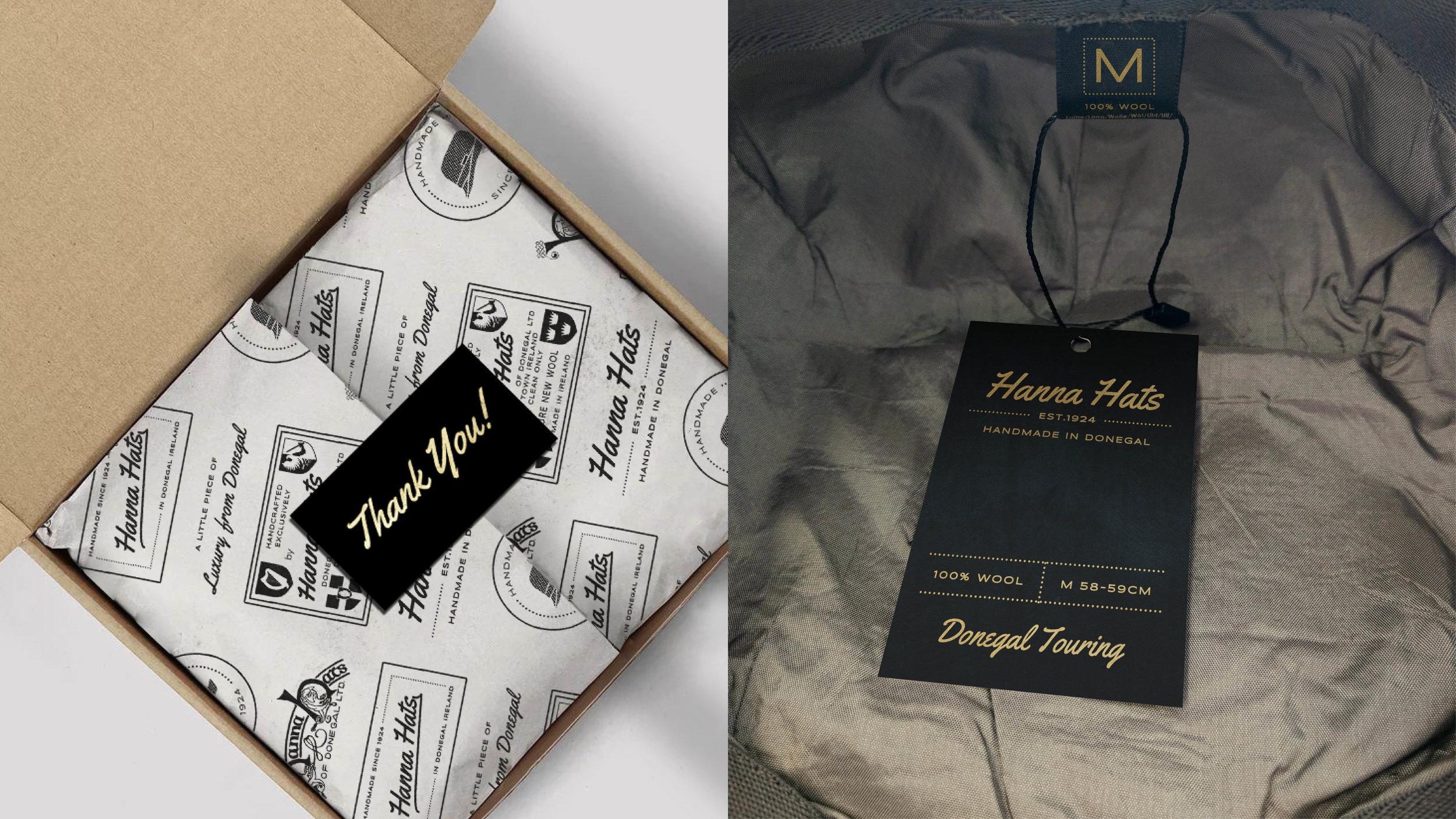 To match the matt black and gold packaging we would make the swing tags with the same inspiration to make sure there's a consistency throughout all your design.