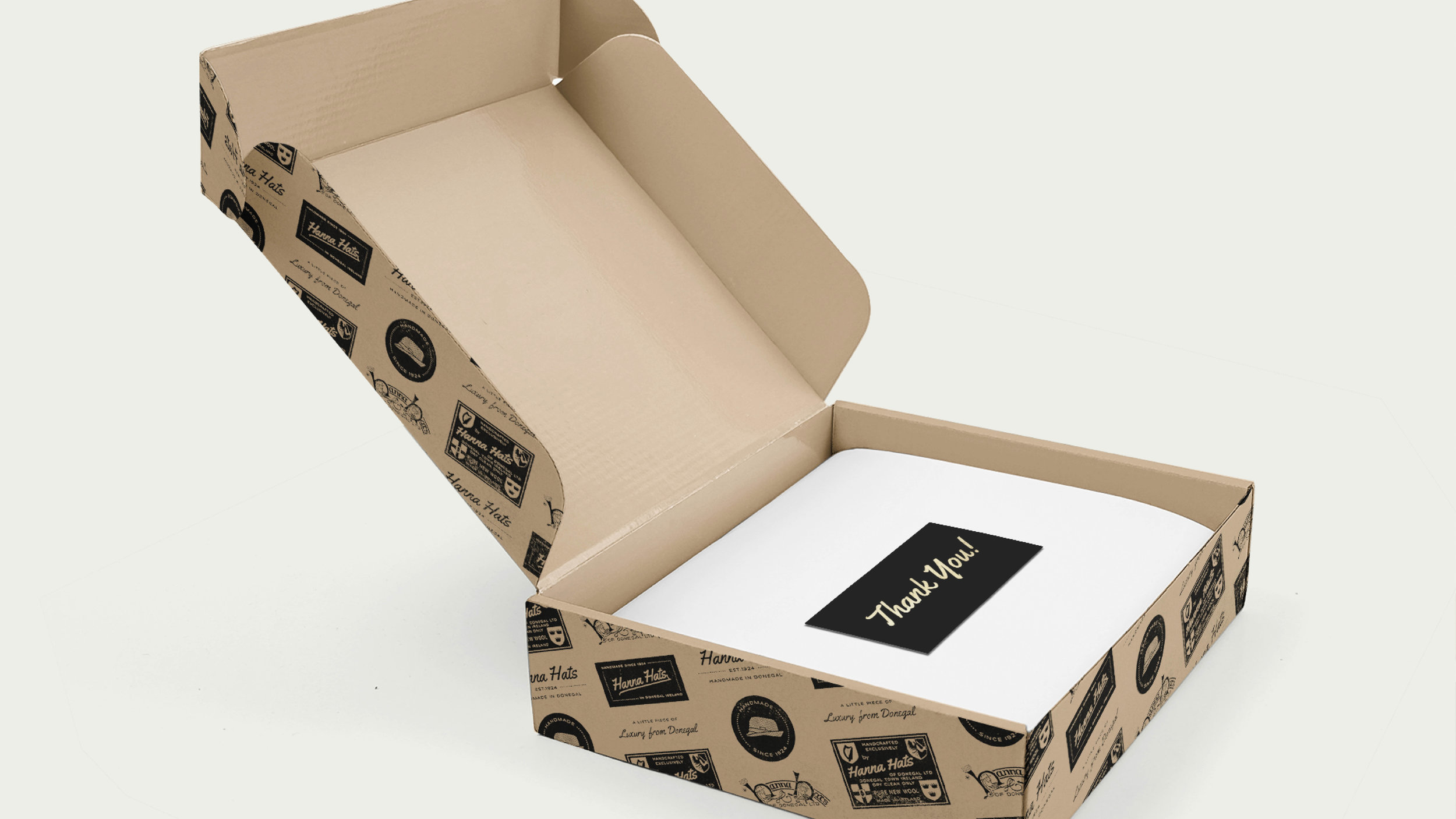 Since the box has the pattern, the best choice is pure white tissue wrapping which creates a really nice contrast.