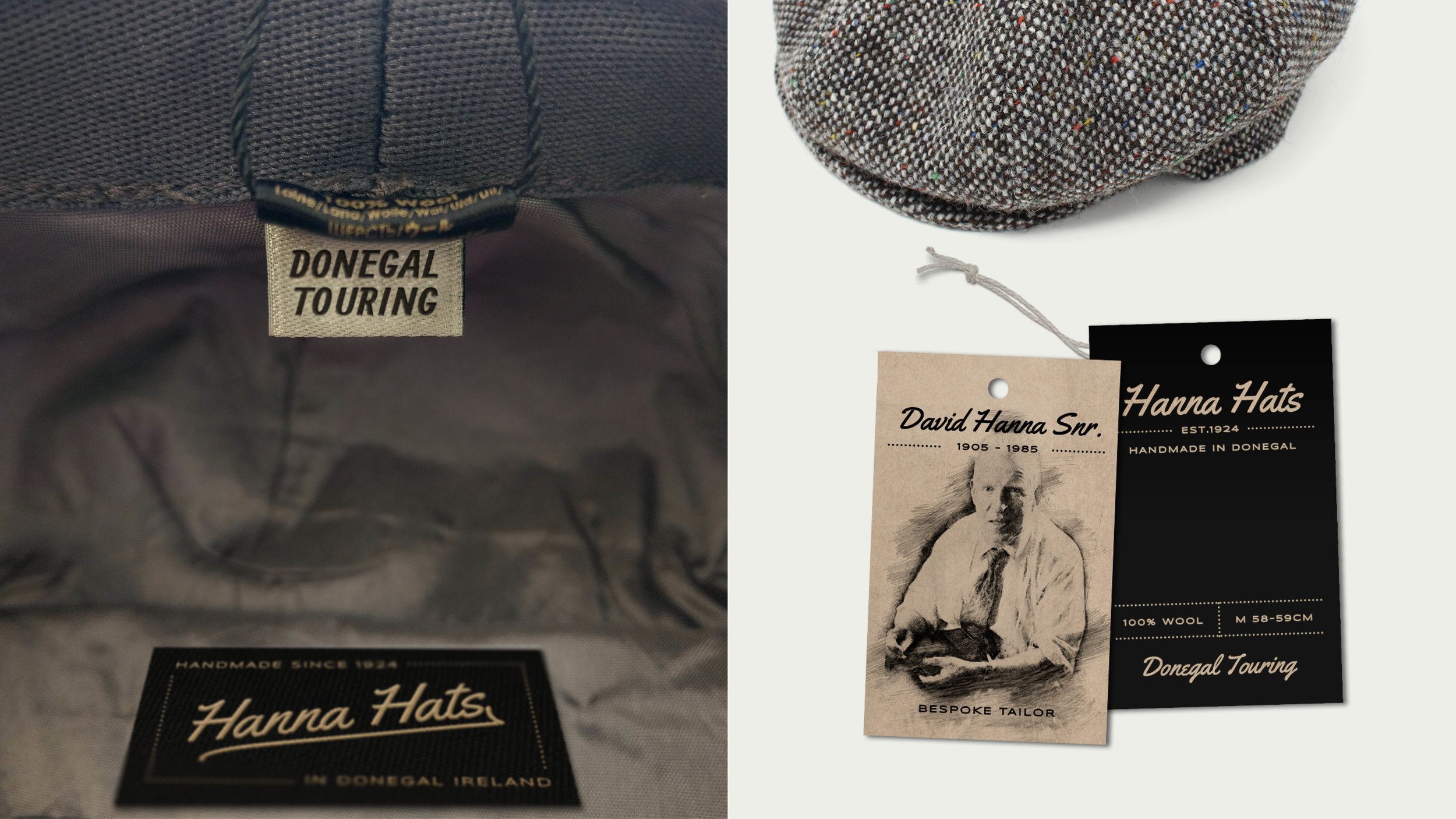 We think a label as shown above for the Donegal Touring hat would add a really nice touch to each of the product ranges.