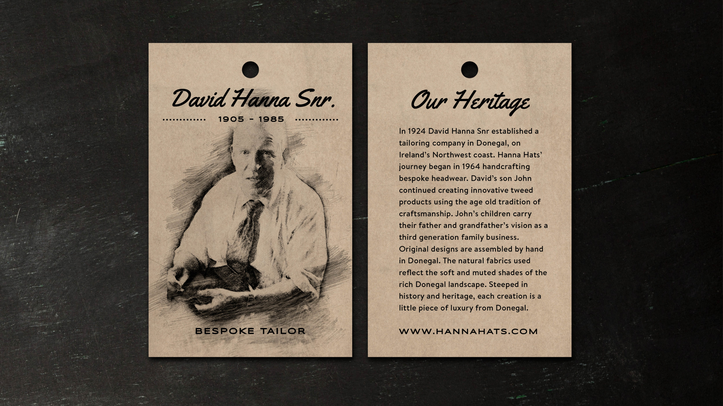 And Finally, we redesigned the heritage label featuring David Hanna Snr. Including this, along with the other swing tag adds a sense of the genuine heritage of the company