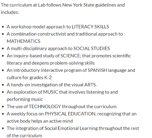 what parents can expect from the ps 77 lower lab CURRICULUM