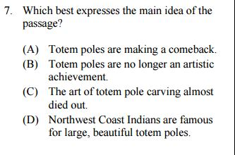 Upper Level Reading Comp Question Sample
