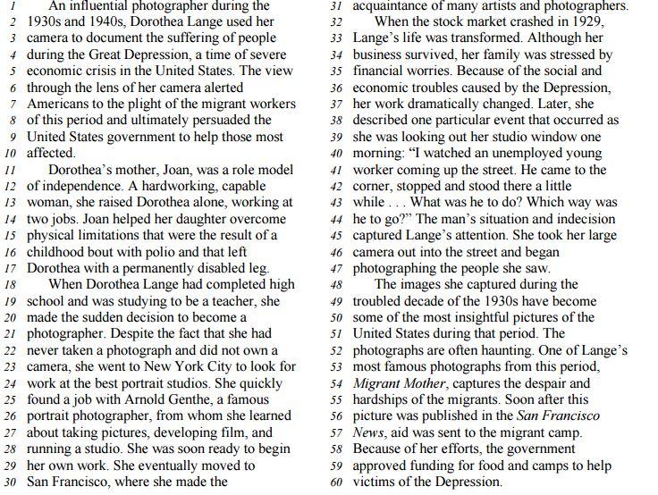 Middle Level Reading Comprehension Sample Passage