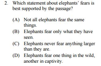 Middle Level Reading Comprehension Sample Question
