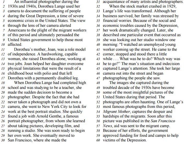 Middle Level Reading Comprenhension Passage