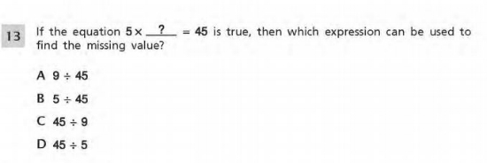 3rd Grade Math sample question - Relationship between multiplication and division