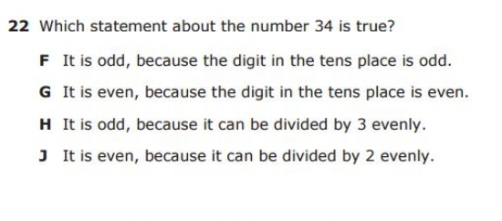 3rd Grade STAAR - Even and Odd sample question