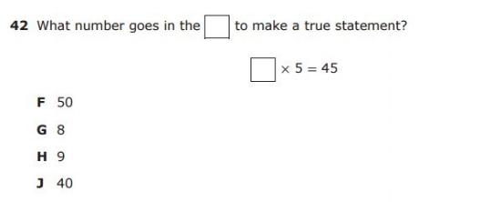 3rd Grade STAAR example: Missing Number sample question
