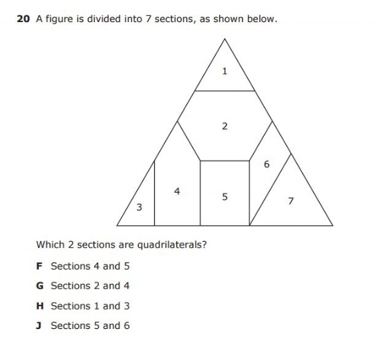 3rd Grade STAAR example question- Quadrilaterals sample