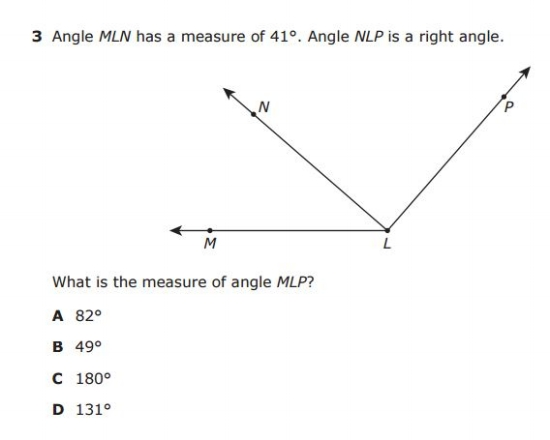 Angle Measurement -- STAAR 4th Grade  sample QUESTION