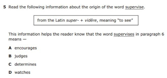 4th Grade STAAR  sample QUESTION  - Latin