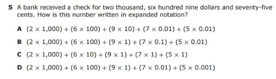 5th Grade STAAR - Expanded Notation sample question