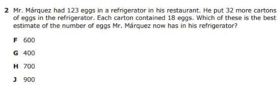 5th Grade STAAR - Estimate sample question