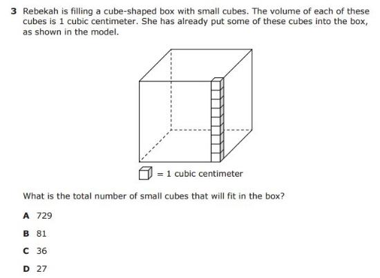 5th Grade STAAR - Volume sample question