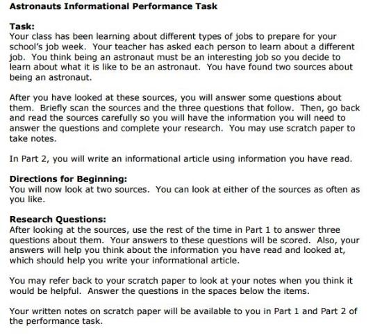 SBAC - 3rd Grade - Performance Task sample