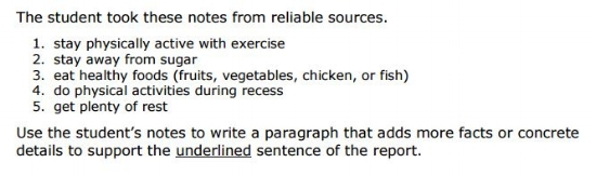 SBAC Practice Test 5th Grade - Brief Writing sample