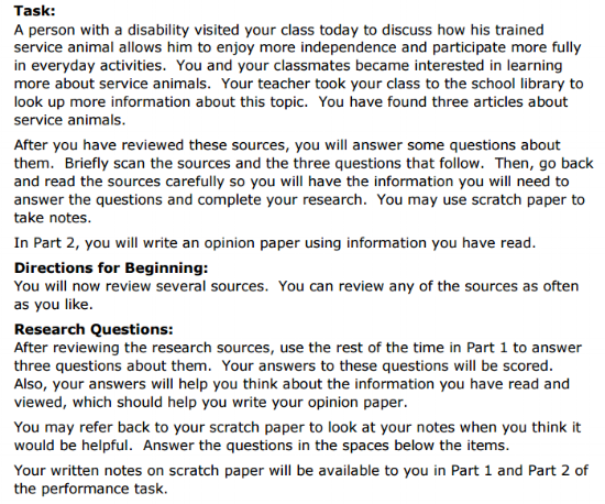 SBAC Practice Test 5th Grade -  Performance Task sample