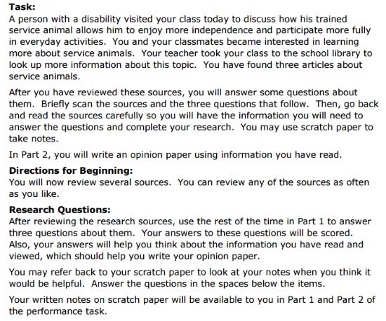 SBAC Practice Test 5th Grade - Performance Task sample