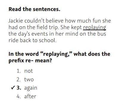 NWEA Practice Test 3rd Grade Test  -Prefixes sample