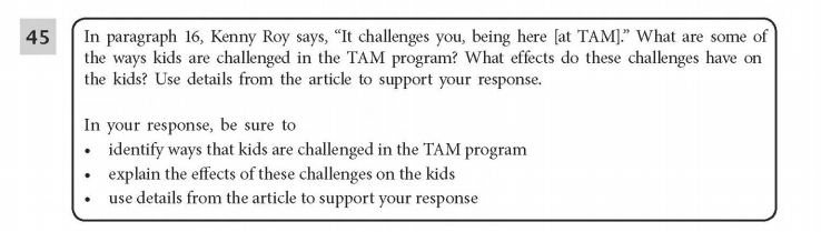 ELA Practice Test 5th Grade  -Extended Response sample