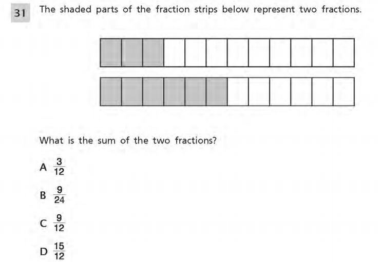 NYS Math Practice Test 4th Grade - Adding Fractions sample