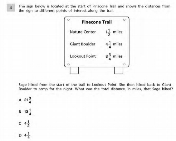 NYS Math Practice Test 5th Grade -Fractions sample