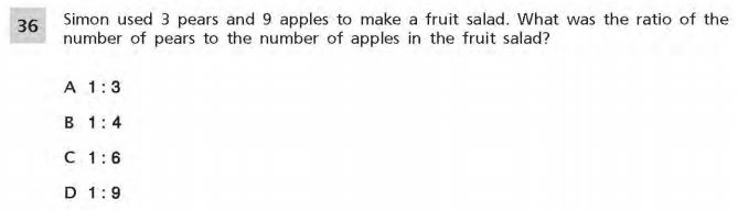 NYS Math Practice Test 6th Grade - Ratio sample