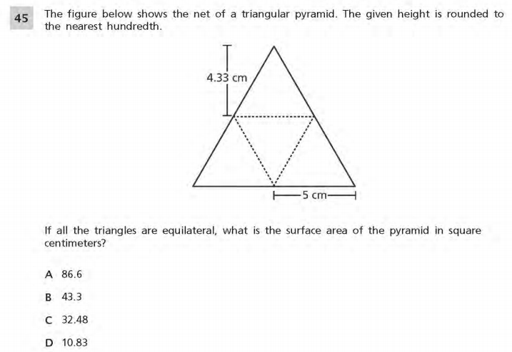 NYS Math Practice Test 6th Grade - Measurement sample