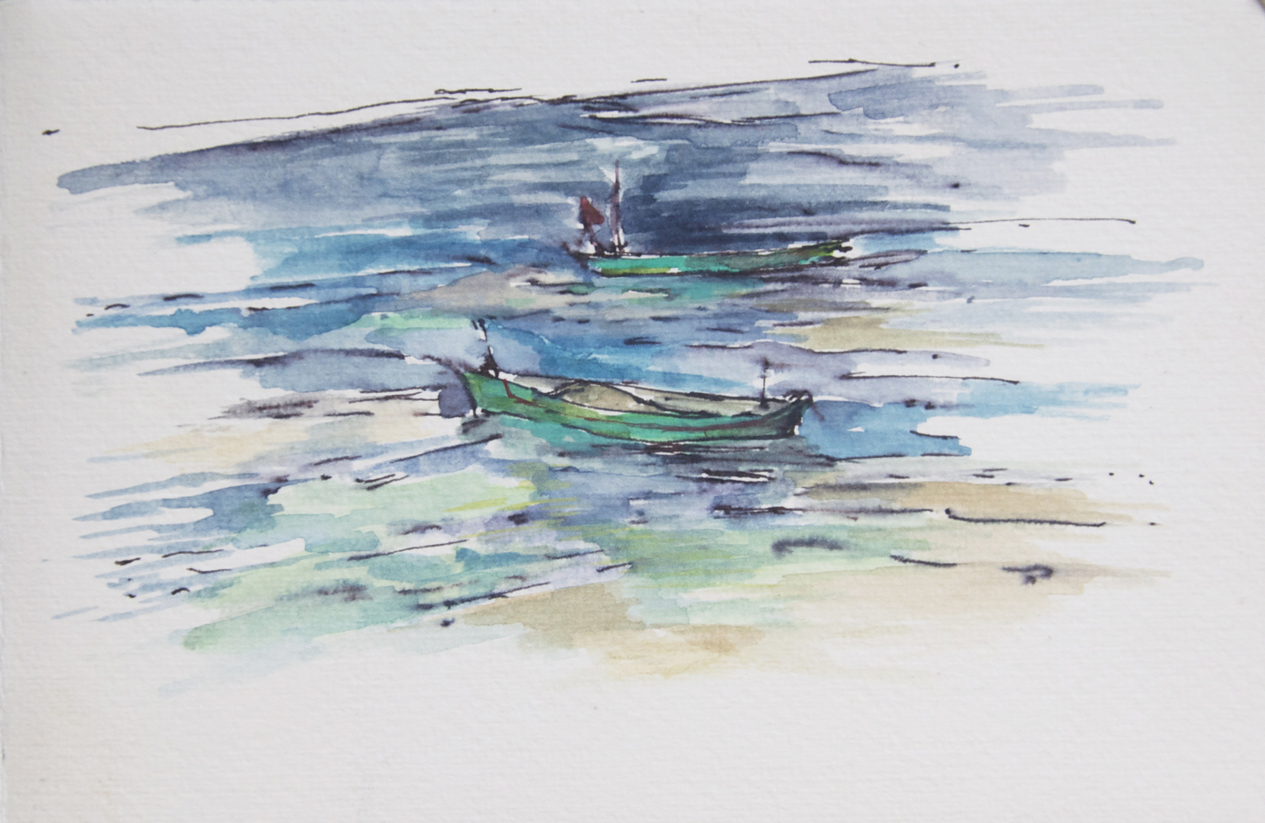 ink, watercolor. Boats in Goa.jpg