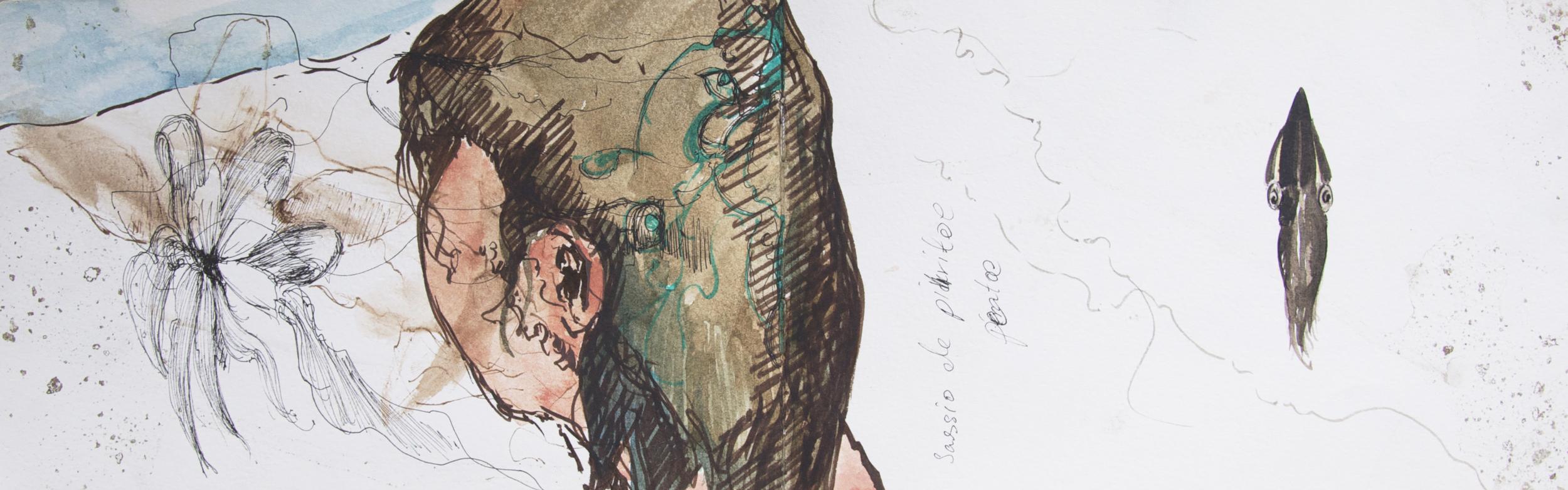 felt pen, watercolor, ink, After a dive.jpg