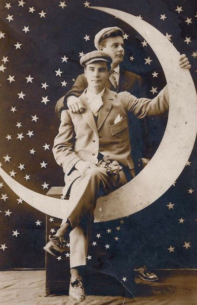 BROTHERS ON A MOON - 1920's paper moon post card.