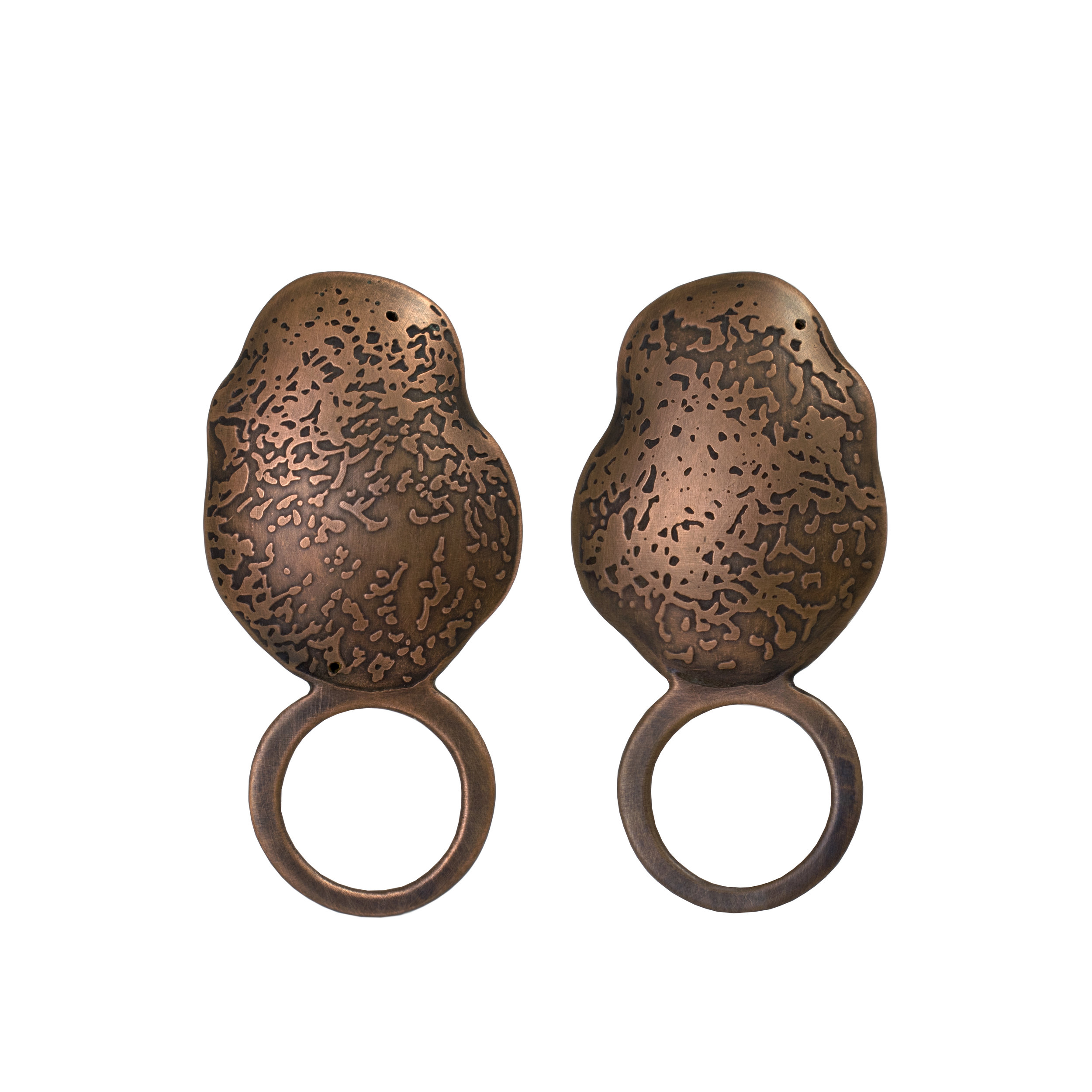 Dappled Puff Ring: etched copper