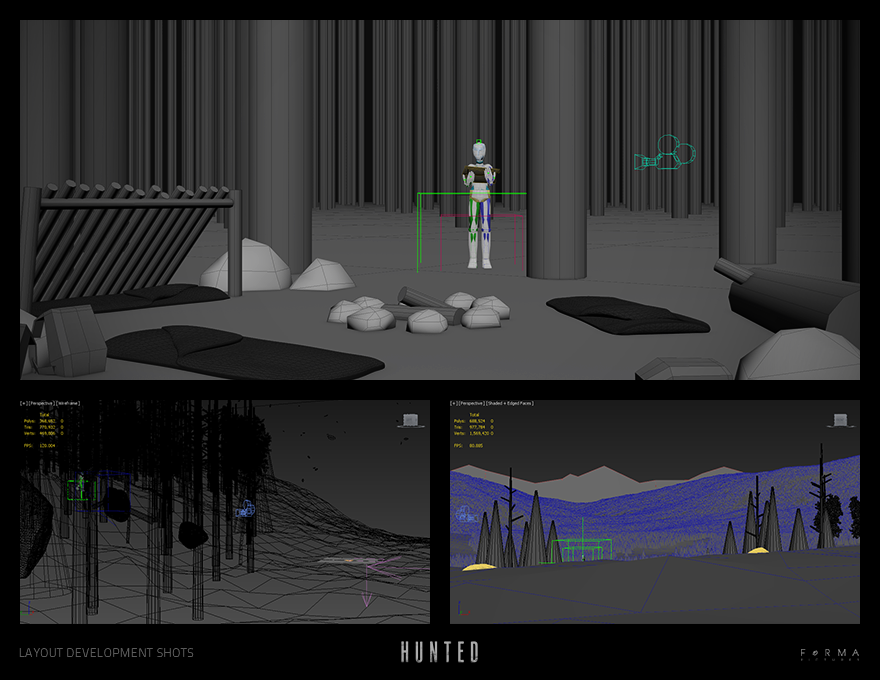 Some screen captures of the layout scenes. I'm using 3Ds Max.