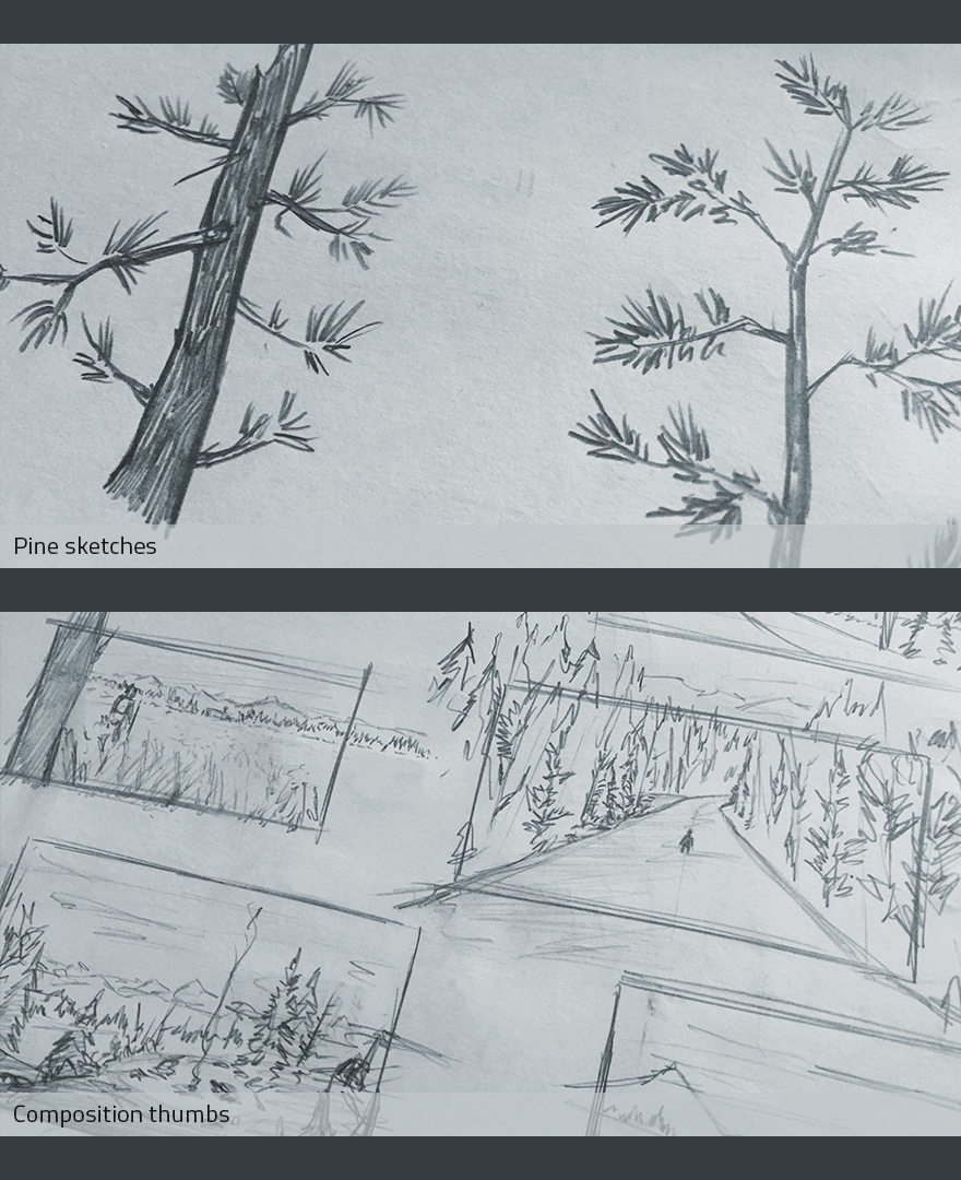 Rough drawings straight from the sketchbook. See? Don't be afraid to just get the vague ideaacross. The pine trees are just squiggles, but they read.